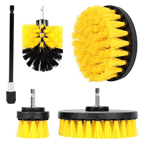 Drill Brush Attachment Set, 5 Pcs Power Scrubber Cleaning Drill Brushes Kit for Shower Tile, Flooring, Brick, Ceramic, Marble, Grout, Bathroom, Car