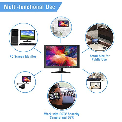 12 inch IPS CCTV Monitor Screen Dual HDMI + VGA+ AV+ USB+ Micro SD Input Display HD 1080P 16:9 TFT LCD Mini PC Display with Remote Controller Home Security Dual Speakers Media Player Touch Keys