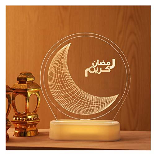qazwsx Eid Ramadan Decorations Table-LED Muslim Ramadan Lámpara Acrílico 3D Noche Luz Festival Atmósfera Lámparas de Mesa para Dormitorio Sala de Estar Decoración Iluminación Ramadán