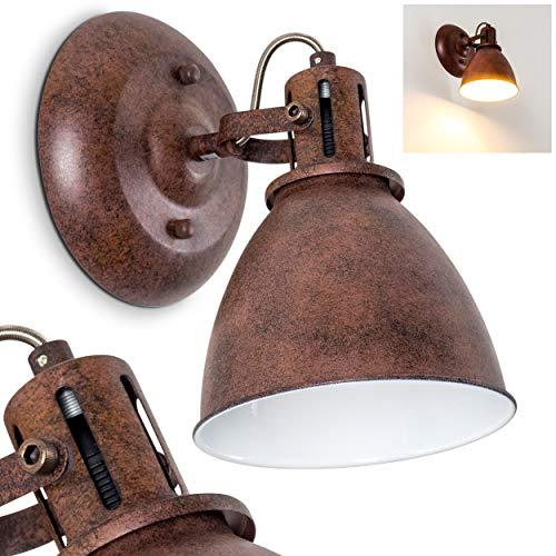Wandlamp Koppom, wandlamp van metaal in roestbruin/wit, 1 vlam, met verstelbare lampenkap, 1 x E14 fitting, max. 40 Watt, retro/vintage uitvoering, geschikt voor LED-lampen