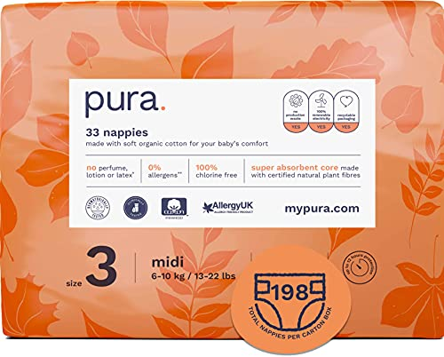 Pura Premium Eco Baby Nappies Size 3 (Midi 6-10kg / 13-22 lbs), 6 Packs of 33 Nappies (198 Nappies), FSC Certified Natural Plant Fibres, Pure, Environmentally friendly