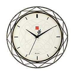 Bulova Clocks C4834 Luxfer Prism 14 Inch Frank Lloyd Wright Inspired Wall Clock