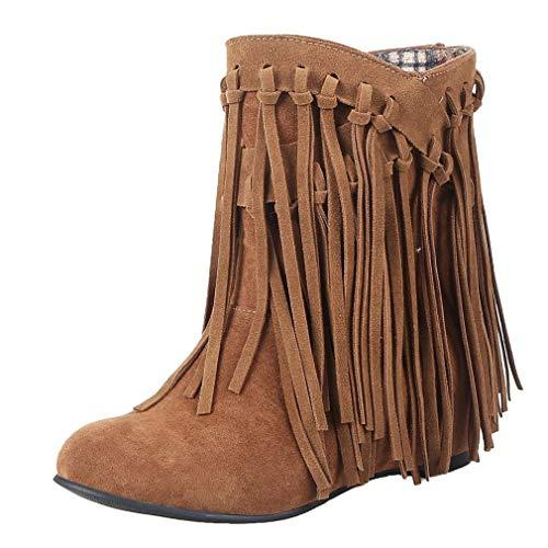 MISSUIT Damen Flache Stiefeletten mit Fransen Ankle Boots Retro Herbst Winter Schuhe(Hellbraun,38)