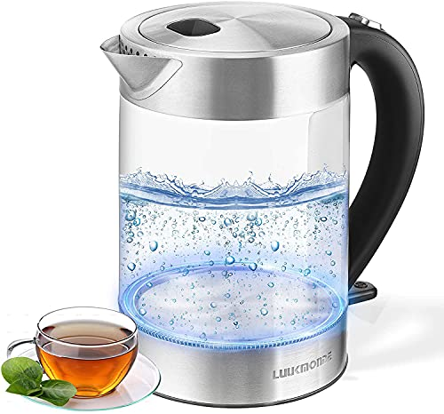 Luukmonde Electric Kettle 1500W Fast Boiling - Glass Tea Kettle 1.7L with LED Light, Auto Shut-off and Boil-dry Protection, Cordless Water Boiler Kettle with Fully Metal Lid, BPA Free