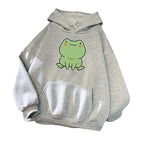 Aniywn Women s Cute Sweatshirts Frog Print Long Sleeve Hoodie Pullover Tops Ladies Kawaii Style Pocket Hooded Jumper Gray