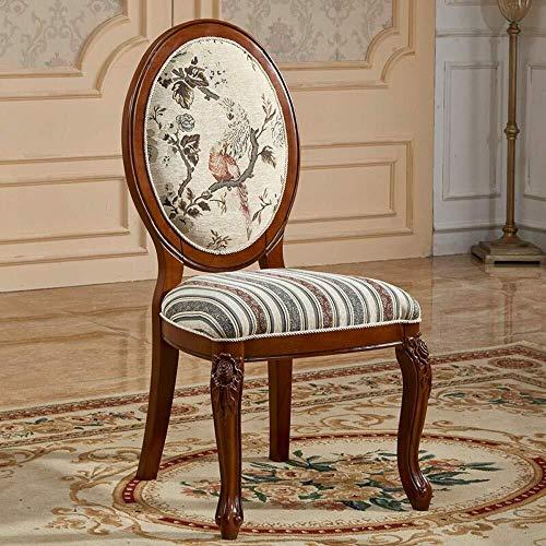 CKQ-KQ Silla de comedor Silla de estilo europeo de tela mesa de comedor de madera maciza tallada por un simple conjunto de cojinete de Inicio 2 Sillas Paquete de cocina (Color: Marrón, Tamaño: 52x50x1