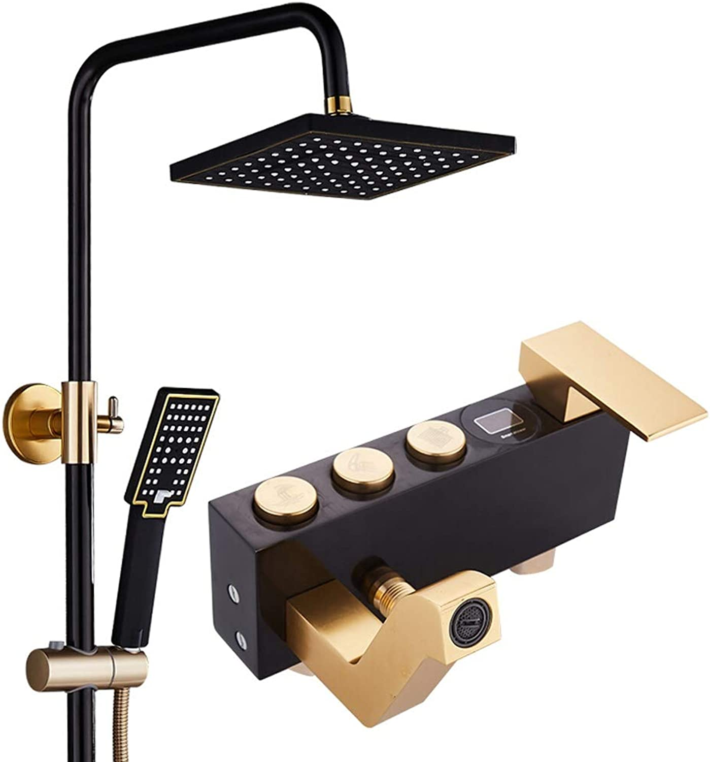 JCOCO European style Black golden Shower System, with 8  Rain Showerhead,3-Function Faucet, Adjustable Slide Bar, Polished Chrome Finish (Size   A)
