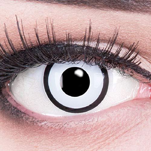 Funnylens 1 Paar farbige weisse schwarze Crazy Fun white zombie Jahres Kontaktlinsen. perfekt zu Halloween, Karneval, Fasching oder Fasnacht mit gratis Kontaktlinsenbehälter ohne Stärke!