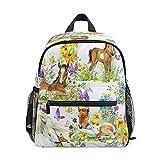 Mochila para niños pequeños con diseño de caballo y flores de acuarela para niños y niñas, bolsa de preescolar Kindergarten Schoolbag con correa para el pecho
