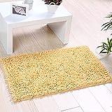 YIQI Alfombra de baño de Felpa de Microfibra de Chenilla, Suave y acogedora, Agua súper Absorbente, Antideslizante, Gruesa para Dormitorio de baño (60x40 cm, Crema)