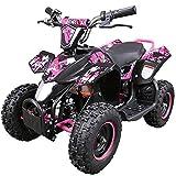 Zorax 36V 1000W Pink 6'' Tyre Battery Powered Kids Mini ATV Quad Bike {Foot Brake - 3 Speeds - LED Light - Forward/Neutral/Reverse - CE Approved - MAX Capacity: 65KGS} Children's Electric Ride on
