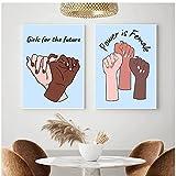 ZNNHEROCuarto De Niños Feminista Gancho De Mano Arte De La Pared Pintura En Lienzo Impresiones Chicas para El Futuro Cita Cuadros Modernos Sala De Estar Dormitorio Poster-40X60Cmx2 Sin Marco