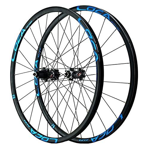 LvTu Bicicleta de Montaña Juego de Ruedas MTB 26/27.5/29 Pulgadas, Rodamiento Sellado Freno de Disco Rueda 8/9/10/11/12 Velocidad Casete 24H Llanta de Bicicleta (Color : Blue, Size : 26 Inch)