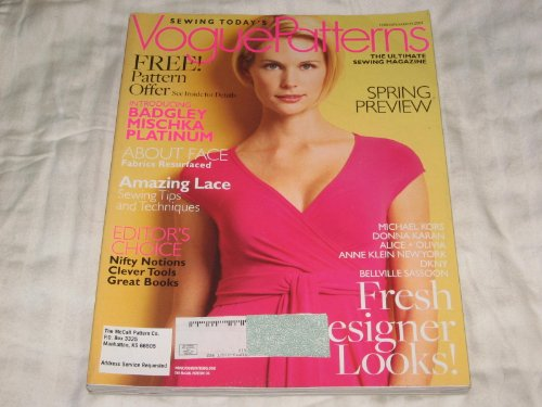 Vogue Patterns February/March 2008 Badgley Mischka, Wedding Fashions, Sewing with Lace, Alice + Olivia
