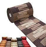 emmevi Alfombra de cocina, alfombra de pasillo, escalera, antideslizante, a medida, bordada, mod. Picasso 27, 67 x 180 cm, marrón