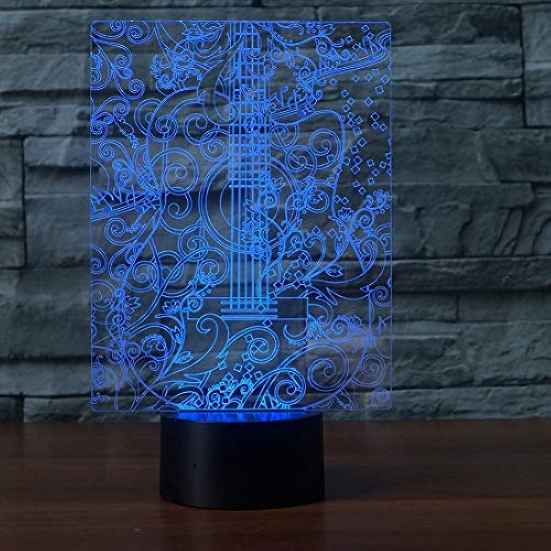 Laofan 3D Led Schlafzimmer Nachtlichter 7 Farbwechsel Gitarre Tischlampe Baby Schlaf Vision Nachttisch Dekor,Berührungsschalter