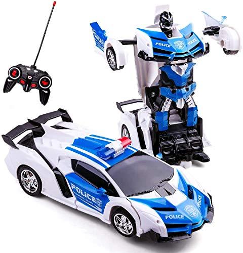 siyushop Control Remoto Coches para Niños De 5 A 12 Años, TRANSFORMANDO Toys For Boys Girls 2 En 1 Deformation RC Car One-Clic Transforme Robot Car For Kids Cumpleaños Regalos para Niños Amarillo