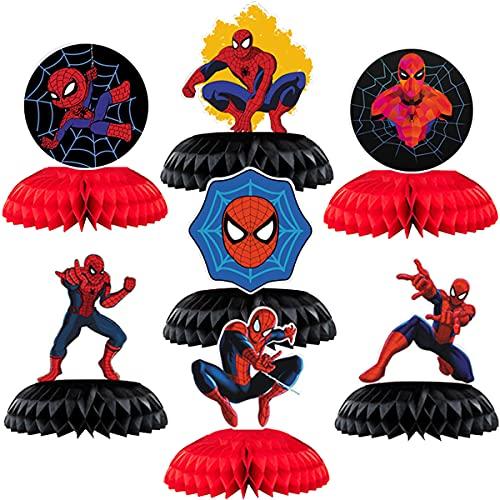 Spiderman Anniversaire Décoration - simyron 7 pcs Joyeux Fournitures de Décoration de Fête Pour Thème Soirée Centre de table en nid d'abeille Spiderman Pour Enfants Décoration
