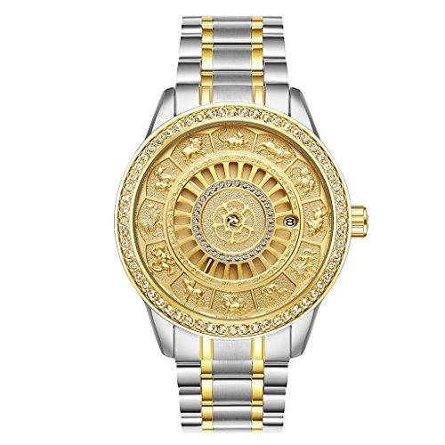 yotijar Reloj mecánico automático de hombre Tessie con brillantes de cristal Pulsera Dorado Plata