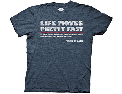Ripple Junction Ferris Bueller's Day Off Life Moves Quote Adult T-Shirt Medium Heather Navy