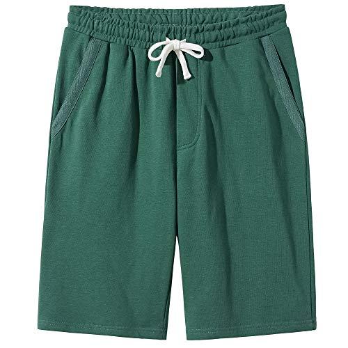 VANCOOG Men's Casual Classic Fit Cotton Elastic Drawstring Novelty Shorts-Green-XXL