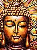 Pintura por números Gran Buda Arte Religioso para Adultos DIY Pintura al óleo Set de Pintura al óleo Regalo Hogar Deco 40X50Cm Sin Marco