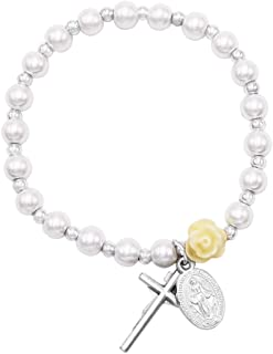 Rosemarie & Jubalee Girl's Religious First Communion Simulated Pearl Bead Stretch Bracelet with Miraculous Medal and Cross Charms