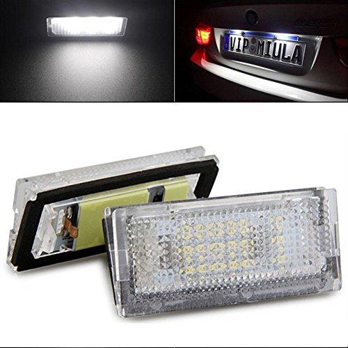 TUINCYN 3528 SMD 18 LED Ampoules Lampes de plaque d'immatriculation 6500K DC 12V super lampe de conduite blanche utilisée dans le monde entier pour BMW E46 4D 98-03 (pack de 2)