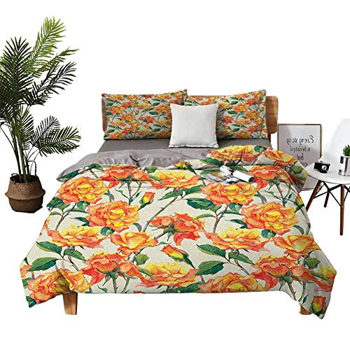 4pcs Bedding Set Bedding 3D digital printing quilt King Size Sheets Old Style Rose Bouqet with Vivid Season Colors Lift Spirit Symbol Artsy Work Cream Orange Green Red quilt cover W68'xL90'