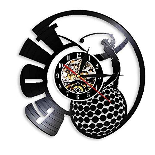 SSCLOCK Golfista Femenina Deportes decoración de la Pared Club de Golf Disco de Vinilo Retro Reloj de Pared Campeonato de Golf Campeonato de Golf Regalo de Recuerdo con LED