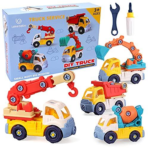 Lekebaby Montage Spielzeug Auto mit Werkzeugen 4 in 1 DIY BAU LKW Set Kinder STEM Schrauben Spielzeug Große Geschenke für Jungen 3 Jahre +
