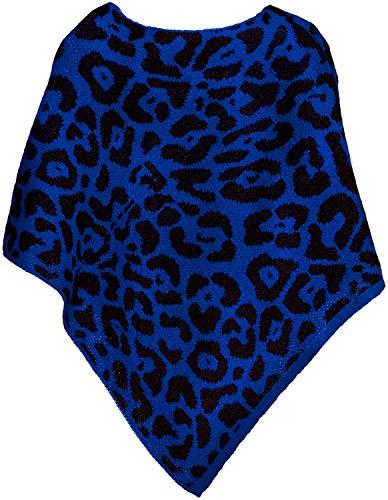styleBREAKER Damen Feinstrick Poncho mit Leoparden Muster, Animalprint, Rundhals 08010057, Farbe:Blau