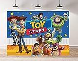 Cartoon Animal Party Backdrop Blue Starry Sky Yellow Wood Toys Story Photo Backdrop (5x3FT)