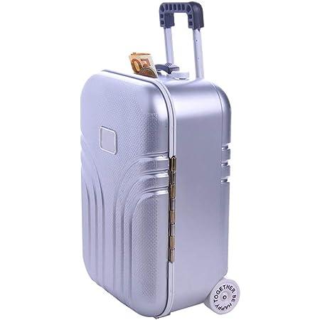 Tirelire créative valise, mini petite tirelire à bagages chariot, tirelire décoration bureau moderne, étui voyage simulation en plastique ABS, jolie boîte voyage, 16x10.5x7cm (1 pièce argent)