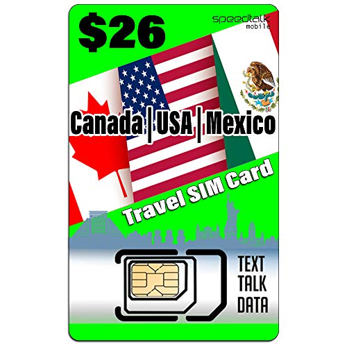 USA Canada Mexico Travel SIM Card- Talk Text Data - Compatible with All Unlocked GSM Phones