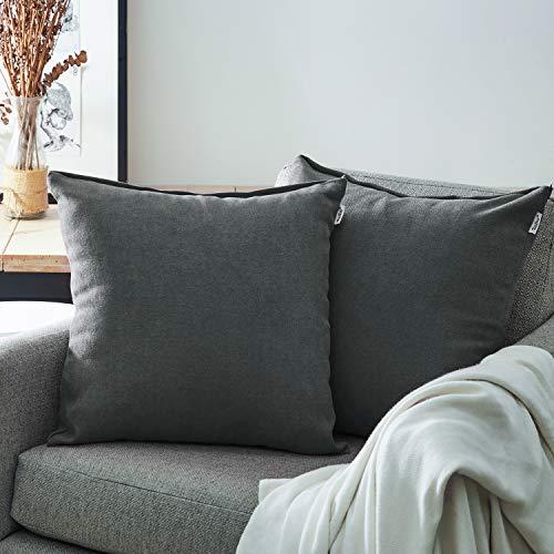 Topfinel Juego 2 Fundas Cojines Cama Sofas de Chenilla Algodón Lino Duradero Almohadas Decorativa de Color sólido para Sala de Estar sofás Camas sillas Dormitorio Jardín Coche 30x30cm Gris Oscuro