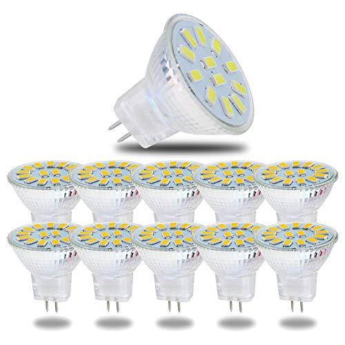WXYC MR11 GU4 5730 15 SMD LED-Glühbirnen, GU4 Bi-Pin-Basis AC/DC 12-24 V 5W (50W Halogen-Glühbirnen) 3000K Warmweiß Heller Scheinwerfer für die Beleuchtung von Heimlandschaftsschienen, 10er-Pack