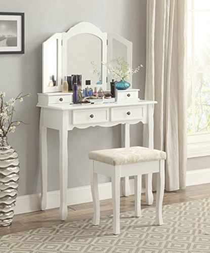 HOT!- Roundhill Furniture Sanlo White Wooden Vanity, Make Up Table and Stool Set.