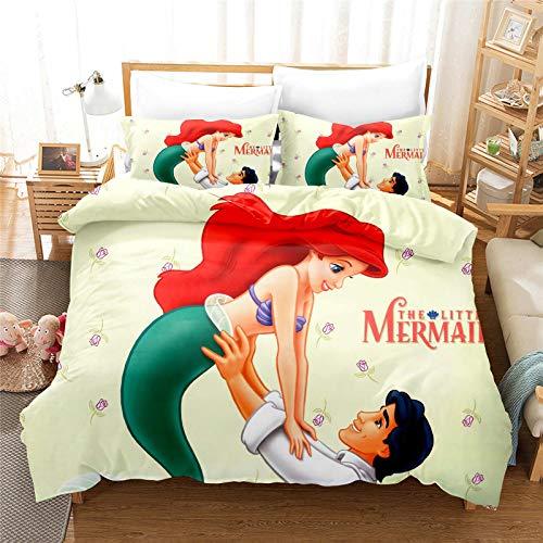 MICOLOD Disney Ariel Mermaid - Juego de cama infantil de 2 piezas, diseño 3D con funda de edredón con cremallera, funda de almohada 100% poliéster, niños y niñas (140 x 210 cm)