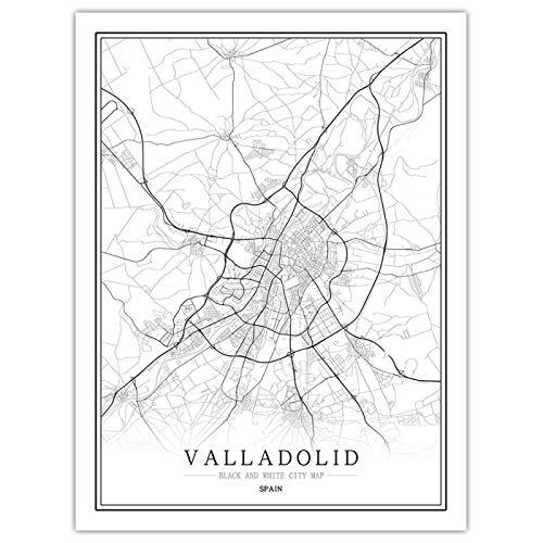 Póster de mapa de la ciudad del mundo en blanco y negro, cuadro artístico de pared para sala de estar nórdica, decoración del hogar, pintura en lienzo, 30x40cmNOFrame Valladolid