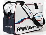 BMW Motorsport Umhängetasche, Unisex Sporttasche im Retro Stil, weiß 80222285880