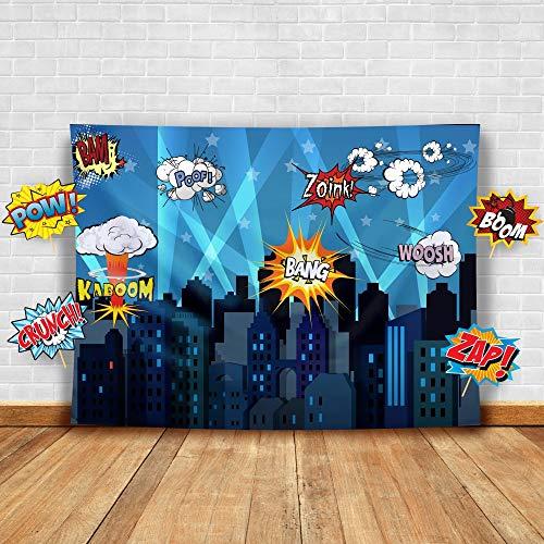 Superhero Fotohintergrund und Studio-Requisiten Fotohintergrund, ideal als Superhelden-Stadt, für Geburtstagspartys und Events, Dekorationen