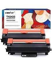 CSSTAR Compatible Cartuchos de Tóner Reemplazo para Brother TN2420 TN2410 (con Chip) para HL-L2350DW HL-L2375DW MFC-L2710DW MFC-L2750DW DCP-L2510D DCP-L2530DW MFC-L2730DW Impresora, 2 Pack, Negro