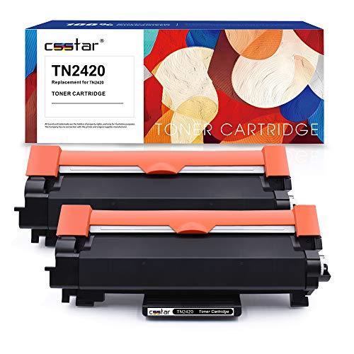 CSSTAR Kompatibel Toner Ersatz für Brother TN2420 TN2410 für HL-L2310D HL-L2350DW HL-L2370DN HL-L2375DW MFC-L2710DN MFC-L2710DW MFC-L2750DW DCP-L2510D DCP-L2530DW DCP-L2550DN Drucker, 2 Pack Schwarz