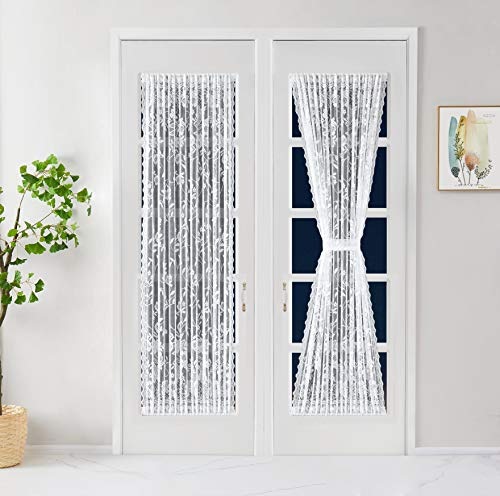 LinenZone - French Door Panels Curtains Floral Design - Semi Sheer Top and Bottom 2.5 inches Pole Pockets with Scalloped Siding - Set of Two Curtains with Two Tie Backs (2 Panels 52 X 72, White)