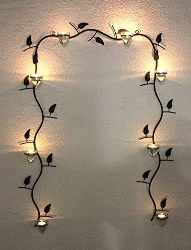 Wandteelichthalter 10412 Wandkerzenhalter Antik Metall 107 cm Braun Teelichthalter Glas Wand Kerzenhalter