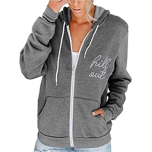 Toasye Hill Out Frauen Casual Langarm Zip Pocket Kapuzenpullover Jacke Kapuzenvlies Langarm Lose Lässige Zip Pockets Solid Jacket Coat Mode Pullover Sweatshirt Windjacke Kapuzenpullover