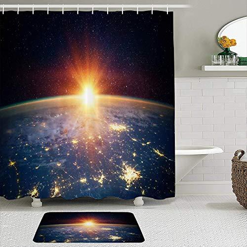 Juego de cortinas de ducha de 2 piezas con alfombra de baño antideslizante,Llamarada Ciencia Cielo Tierra Noche Sin fin Sol Rayos estelares Cosmos Portal,12 ganchos,Decoración de baño personalizada