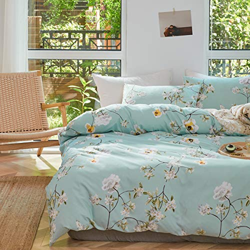 Uozzi Bedding 3 Piece Queen Adults Kids Duvet Cover Set 800 - TC Blue Comforter Cover with Flowers...