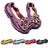 Mallimoda Damen Mokassin Lederschuhe Leder Loafers Flache Bootsschuhe Slippers Lila 38 EU=39 Asien